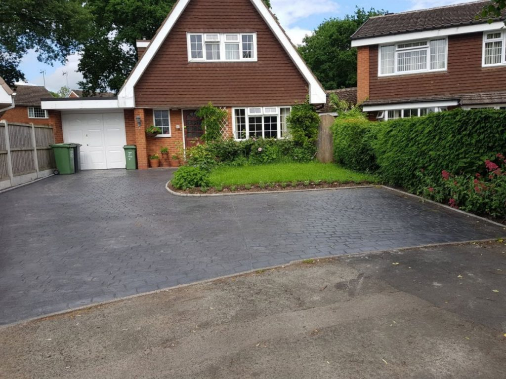 Pattern Imprinted concrete driveway Gloucester Gloucestershire after
